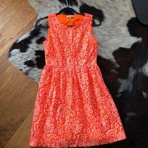 Madewell fluorescent orange lace dress tank top